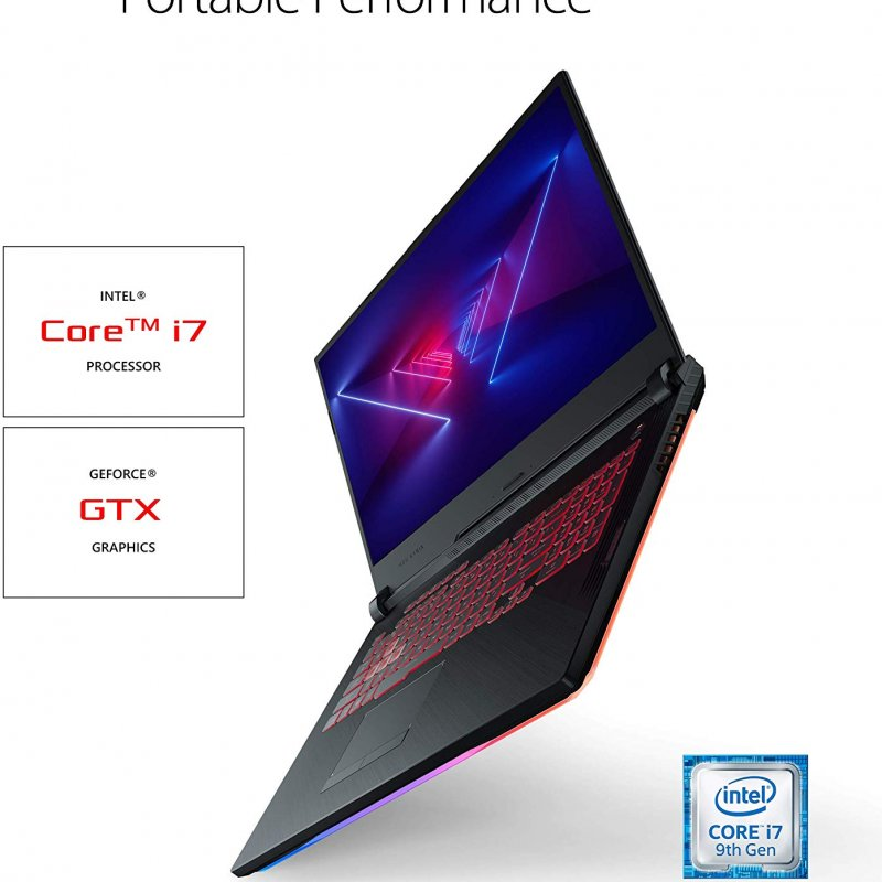 Asus ROG Strix GL731GT-RB73 (2019) Gaming Laptop, Intel Core i7-9750h Hexa-Core processor NVIDIA GeForce GTX 1650-4 gb 16GB DDR4,  SSD 512 GB,  RGB KB,  17.3 FHD, Windows 10 Home