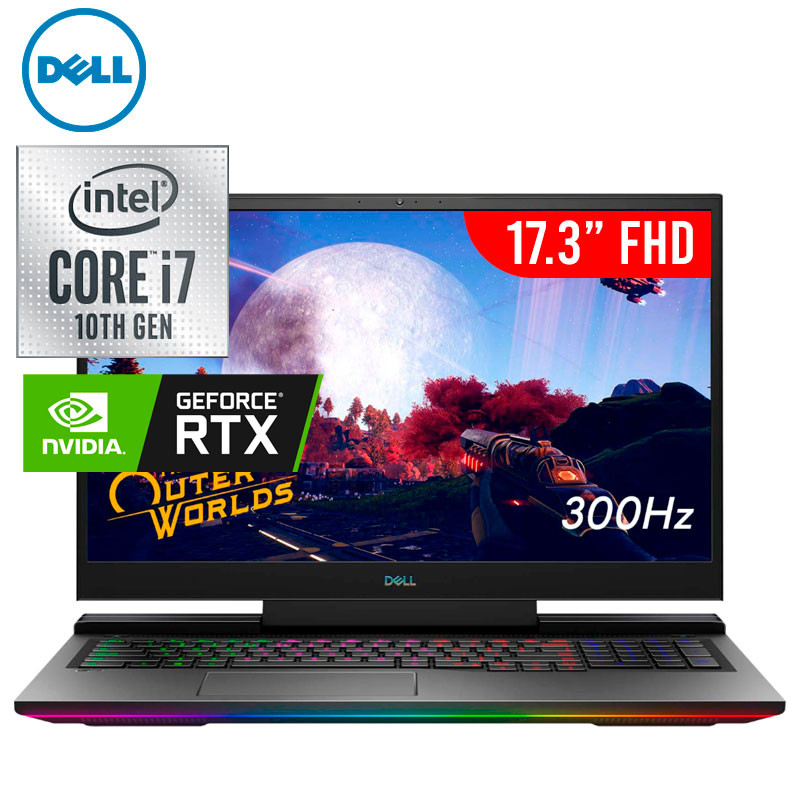 Dell G7700-7231BLK-PUS, Gaming Laptop. Intel Core i7-10750H, Nvdia Geforce RTX 2070-8GB, 17.3 FHD 300Hz Display with Webcam, Ram 16gb, SSD 512GB, Win 10