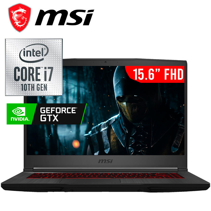 Msi GF 65 Thin 10 SDR, Intel Core i7-10750H, Nvdia Geforce GTX 1660ti-6GB DDR6, SSD 512 GB, Ram 16 gb (max 32 gb), 15.6 FHD, anti-glare, IPS-level, 120hz, Win 10,